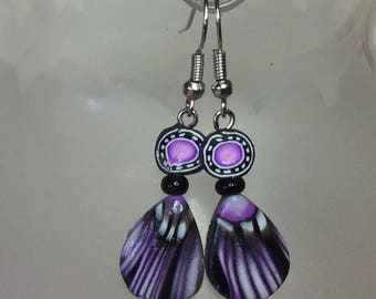 Purple, lavender and black Pattern -  Polymer clay earrings