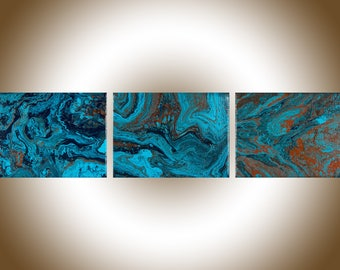 Set of 3 wall art Colourful Abstract original artwork painting on canvas acrylic Painting fluid art red turquoise blue free shipping