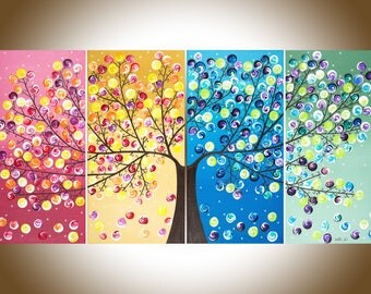 "Abstract painting original artwork painting on canvas ""365 Days of Happiness"" by qiqigallery"