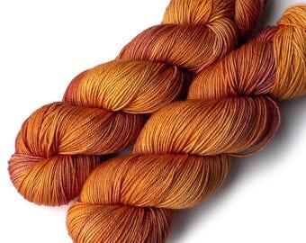 Hand Dyed Yarn Boston Beauty Sock Yarn Merino Silk Cashmere, Golden Beet