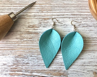 Large Leather Earrings, Genuine Leather Dangle Earrings, 3 Inch Drop Earrings, Hook Earrings, Jewelry, Ready to Ship