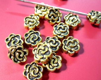 Antique Gold Plated Rose Edge Drilled Double Sided Metal Beads 6x3mm Coin Spacer Beads MB1138 F17