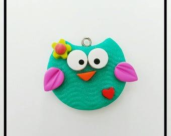 New Teal Polymer Clay Owl Charm - Purple Owl Pendant-  Owl Chunky Charm- Owl Bow Center - Bright Color Owl Flatback