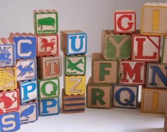 Vintage wooden blocks set of 39 gift for a boy or girl alphabet blocks