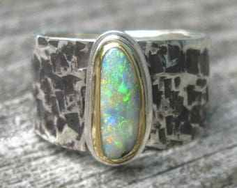 Australian Opal Ring - Sterling Silver 22K Gold Australian Boulder Opal ring - US size 8 - mixed metal Koroit Opal ring - tapered band