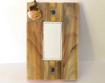 Decorative Light Switch Cover, Decora Rocker Switch Plate, Dimmer Cover Plate, Outlet Cover, Gold Stained Glass, Wall Plate, Glass Art, 8599