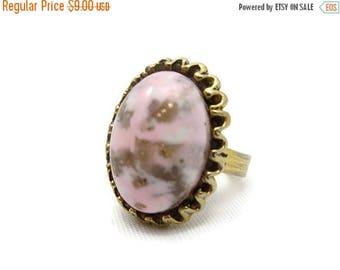 OnSale Pink Art Glass Ring - Adjustable, Gold Tone, Costume Jewelry AS IS
