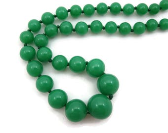 Jade Green Glass Bead Necklace - Hand Knotted Costume Jewelry