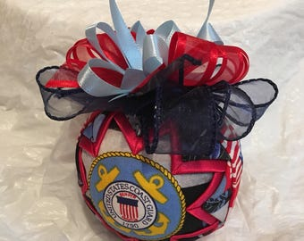 US Coast Guard Ornament - Quilted Christmas Ornament - Stocking Stuffer Hostess Gift