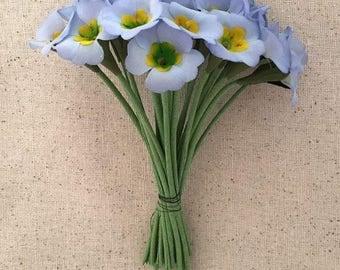 Vintage Flowers Bundle of 24 Light Blue Fabric Primrose Millinery Flowers ~ Vintage East Germany ~ Old Store Stock  VAT001-BL