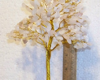 Rose Quartz Gem Tree for decoration or earring holder at flea markets - use in a display, 300 gems, FREE SHIPPING