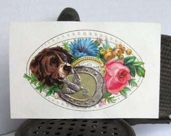 Victorian Calling Card Dog hidden poem salesman sample antique calling card No5
