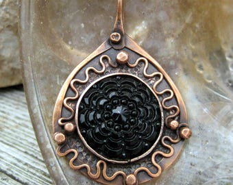 rustic copper pendant IN MOURNING original handmade pendant