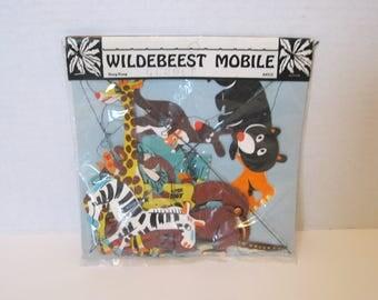 Vintage Wildebeest Paper Mobile Made In Hong Kong Giraffe Zebra Monkey NOS