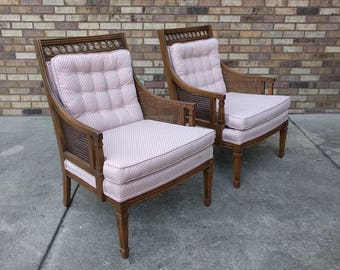 2 HOLLYWOOD REGENCY circle motif & cane arm chairs