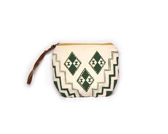 wristlet clutch • pouch with wrist strap • waxed canvas - olive green - geometric print - clutch purse - fall fashion