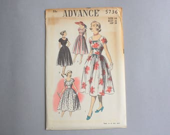 Vintage Sewing Pattern / 1950s Dress Pattern / Uncut Advance Pattern 5736 Scoop Neck Bows Puff Sleeves Full Skirt 36 bust 30 waist