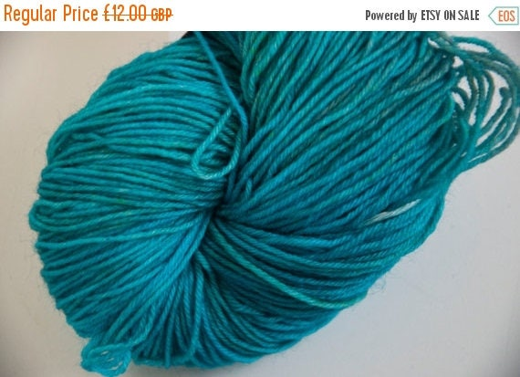 Christmas In July Hand-Dyed Yarn in Tropical Waters Colourway Sock Yarn Superwash Wool/Nylon Tootsie Base