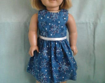 Blue Firework Dress / Doll Clothes fits American Girl doll or other 18 inch doll
