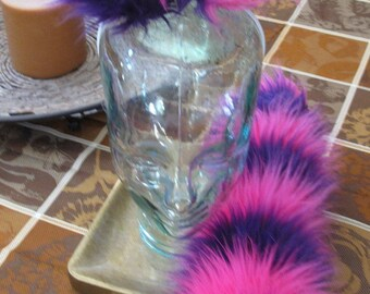 Cheshire cat pink/purple striped luxury shag faux fur ears tails & sets