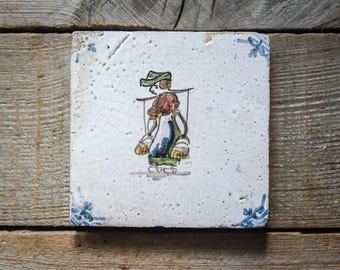 Antique Dutch Tile, Milk Maid, Vintage Hand Painted Tile