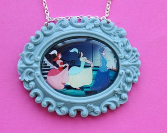 Disney's Cinderella's Lady Tremaine and Step Sisters Cameo Necklace in Grey Resin Setting