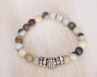 Amazonite bracelet, beaded bracelet for women, gemstone bracelet, boho jewelry, mala beads bracelet, mothers day gift mom gift from daughter