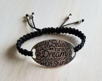 Inspirational jewelry, bracelet for women, boho jewelry, birthday gift for teen girl, mothers day gift mom gifts, macrame bracelet