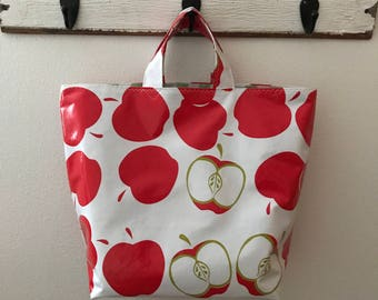 Beth's Red Apples  Oilcloth Grocery Market Tote Bag