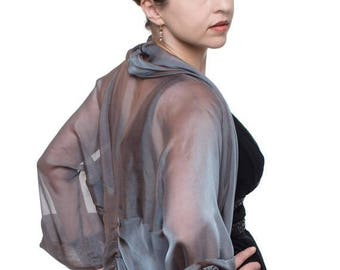 Promo Sale: Steel-Blue Silk Chiffon Formal Bolero Jacket FIRST LADY/ Sizes XS - 4X