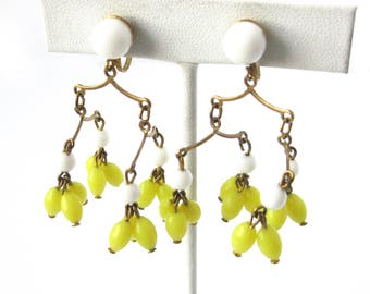 Vintage Dangling Earrings with Yellow Beads / Chandelier Earrings  / Yellow White and Gold Screw Back Earrings / Mobile / Costume Jewelry