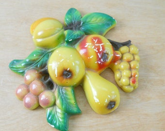 Vintage Chalkware Fruit • Kitchen Decor Chalk Ware Pear Cherries Plum Grape