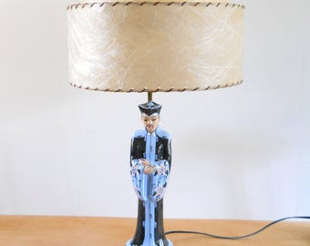 Vintage Asian Figural Lamp • Mid Century Kitsch Lamp •  Fiberglass Shade • 1950's Vintage Black and Blue