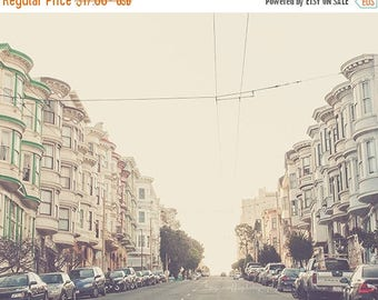 SALE San Francisco print, travel photography, California photo, architecture, streets cape, pale pastels, cottage chic, A Charming Perspecti