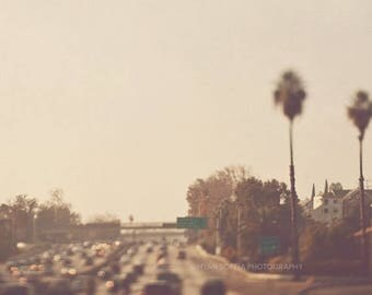 SALE Los Angeles photography, California travel, bokeh lights, dreamy photo, City of Dreamers No. 2, palm trees warm LA traffic, brown gold