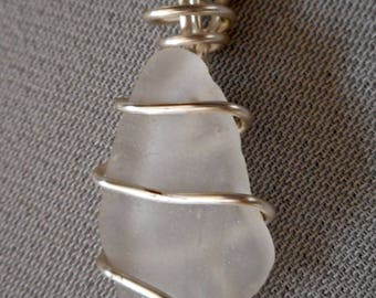 clear beach glass necklace pendant