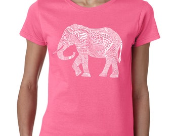 Elephant T-Shirt. Women's Shirt. Graphic Elephant shirt cool ethnic animal print fashion vintage Mens Womens Unisex T shirt Christmas Gift