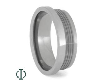 Interchangeable Core, Titanium Wedding Band With Interchangeable Inlays (sold separately), Made to Order Ring For Men