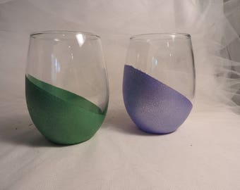 painted stemless wine glasses