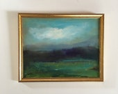 Night Marsh- Painting- Atmospheric Painting- Original- 10 x 12-1/4 approx. inch - including Frame - Fine Art- Minimalist Painting