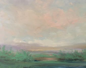 Landscape-warm pastel colors- 24 x 24 Stretched Canvas- 1-1/2 Inch Gallery Wrapped Painted Sides