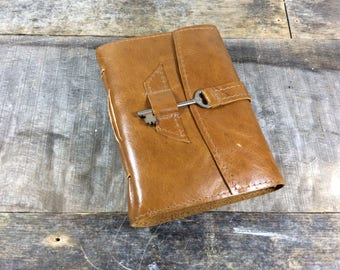 Medium blonde leather journal with genuine antique skeleton key and handmade cotton rag paper/As seen in Country Sampler Summer 2017