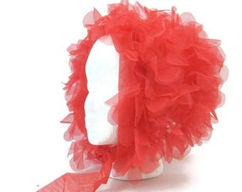 REDUCED Vintage 60s Head Scarf 3D RED Flower Nylon Chiffon Mod