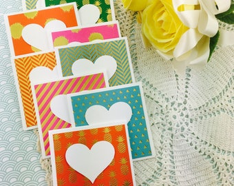 Mini Heart Cards Pineapple Brights Gold Collection Set of 9