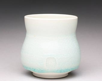 handmade porcelain yunomi, ceramic tea cup, pottery cup with light turquoise and yellow celadon glazes