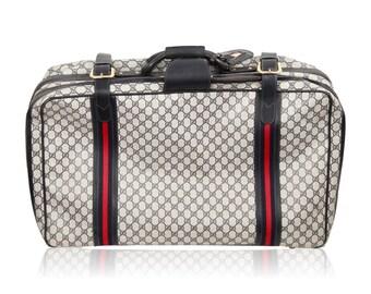 gucci vintage. gucci vintage blue gg monogram canvas suitcase travel bag gucci vintage
