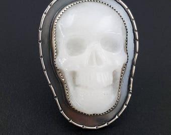 White Jade Skull Ring, size 8.5, skull, sterling silver, skull ring, boho, bohemian, carved skull, skull jewelry, michele grady, halloween