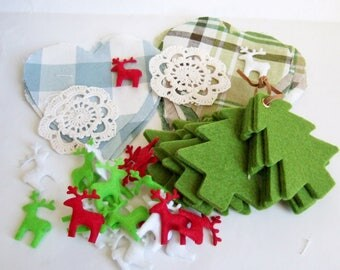 Felt Christmas Trees and Reindeer, Fabric Hearts - 50 Pieces Vintage & New Craft Supplies for Christmas Decorations