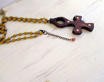 Egyptian Ankh, Ankh Necklace, Wooden Necklace, Long Necklace, Pendant Necklace, Brownish Red, Mustard Yellow, Handmade