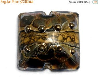 ON SALE 30% off Glass Lampwork Bead - Black w/Yellow Silver Foil Pillow Focal Bead 11815204